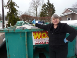 Carolina clearing a hoarders debris in Windsor Ontario