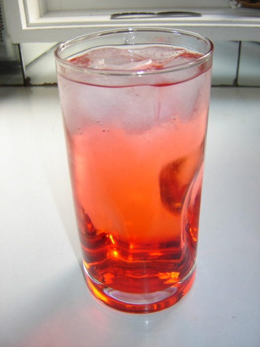 Raspberry Vinegar with Soda Water