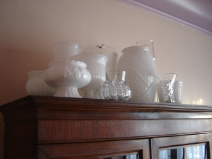 Milk Glass Collection on Display in Windsor Ontario
